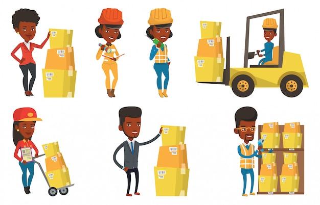 Vector set of industrial workers. Premium Vector