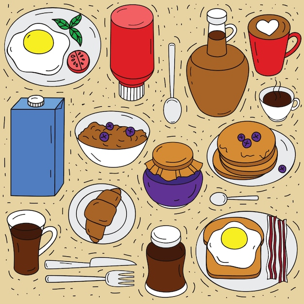 Vector set of ingredients for breakfast . sketch hand drawn illustration of food top view. doodle style elements for eating Premium Vector