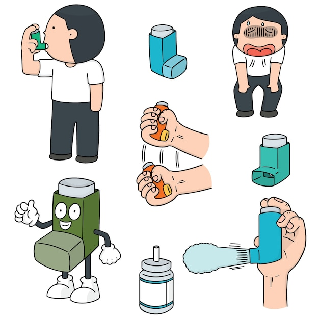 Vector set of inhalation medicine Premium Vector