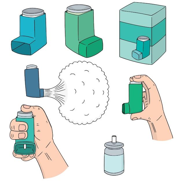 Vector set of inhalation medicine Premium Vector