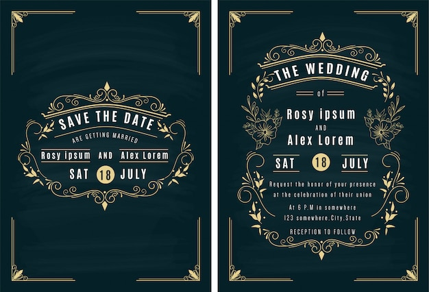 Vector set of invitation cards with elements wedding collection. Premium Vector