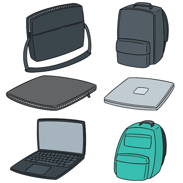 Vector set of laptop and laptop bag Premium Vector