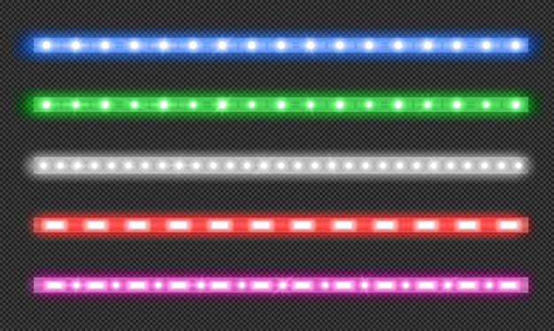 Vector set of led strips with neon glow effect Free Vector