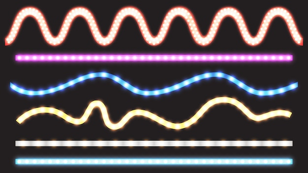 Vector set of led strips with neon light effect Free Vector