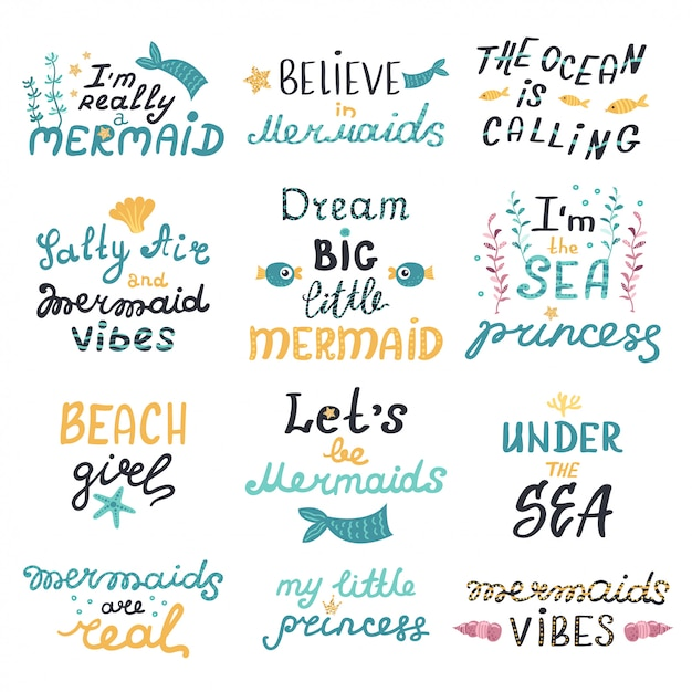Vector set of lettering with cute mermaids phrases Premium Vector