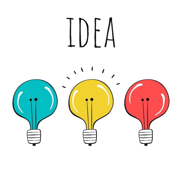 Vector set of light bulbs. hand-drawn style. Premium Vector