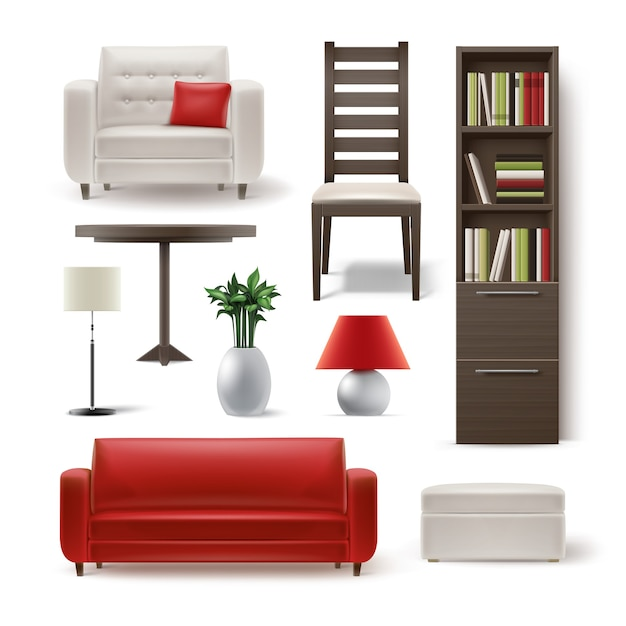 Vector set of living room furniture brown wooden bookcase, dining chair, white armchair, round table, plant, floor lamp, pouf and red sofa isolated on background Free Vector