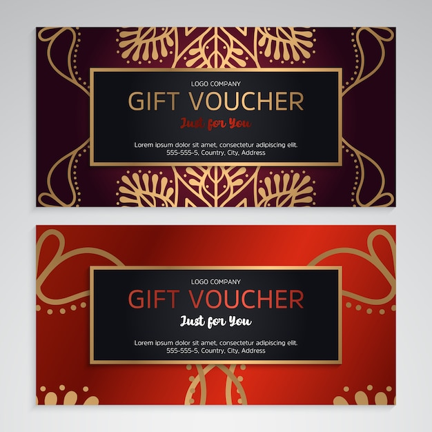 Vector set of luxury red gift vouchers Free Vector