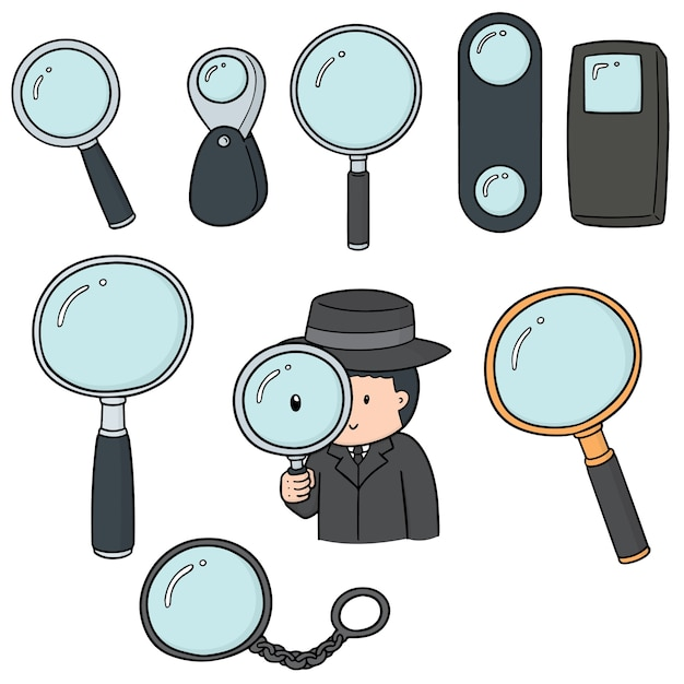 Vector set of magnifying glass Premium Vector