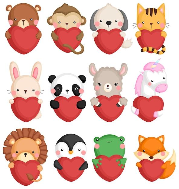 Un insieme vettoriale di molte icone di animali che tengono un cuore Vettore gratuito