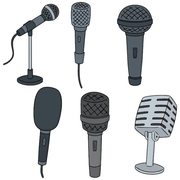 Vector set of microphone Premium Vector