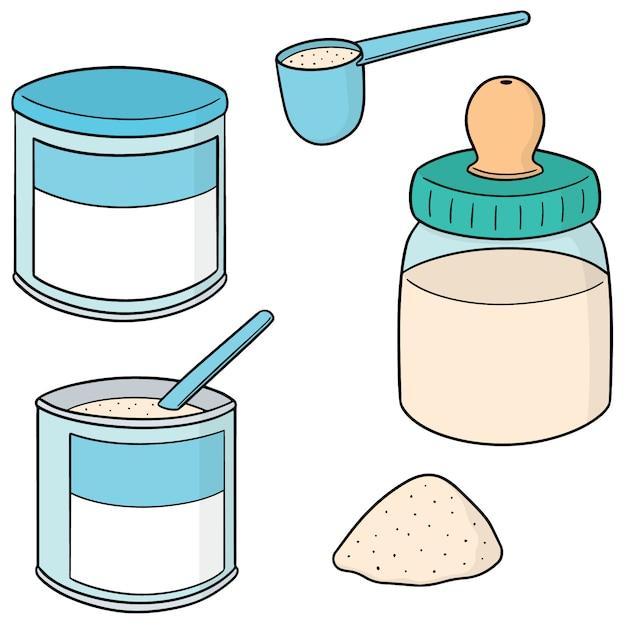 Vector set of milk powder Premium Vector