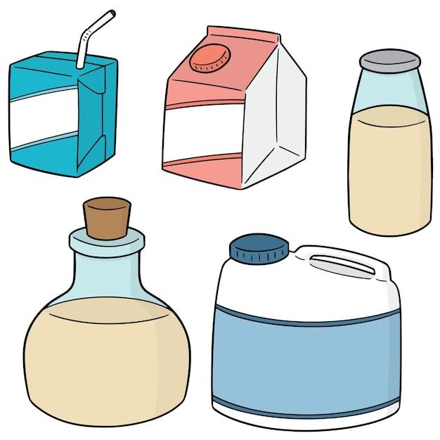 Vector set of milk product Premium Vector