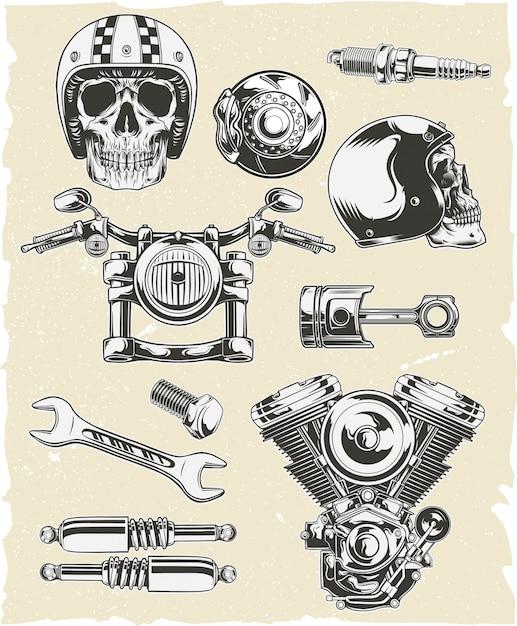 Vector set of motorcycle parts Premium Vector