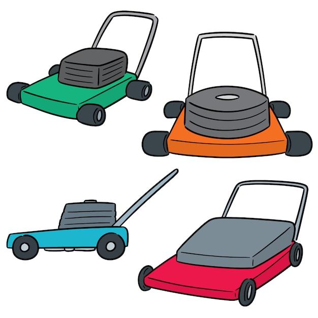 Vector  set of mower Premium Vector