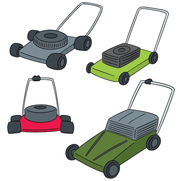 Vector  set of mower Premium Vector