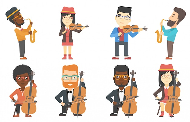 Vector set of musicians characters. Premium Vector