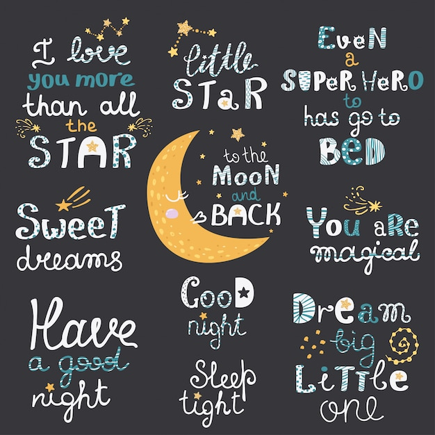 Vector set of night lettering with cute cartoon phrases Premium Vector