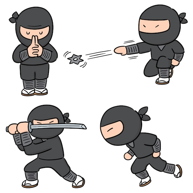 Vector set of ninja Premium Vector