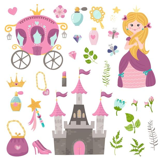 Векторный набор прекрасной принцессы, замок, перевозки и аксессуары. Premium векторы