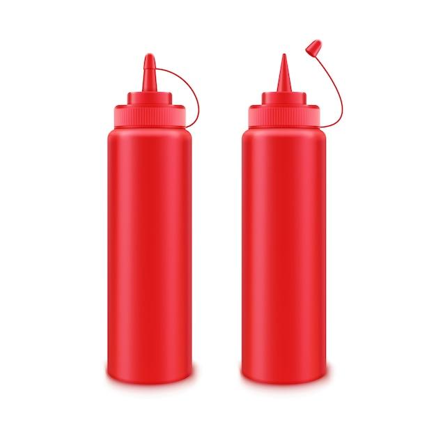 白のラベルなしのブランディングのための空白のプラスチック製の赤いトマトケチャップボトルのベクトルを設定 Premiumベクター