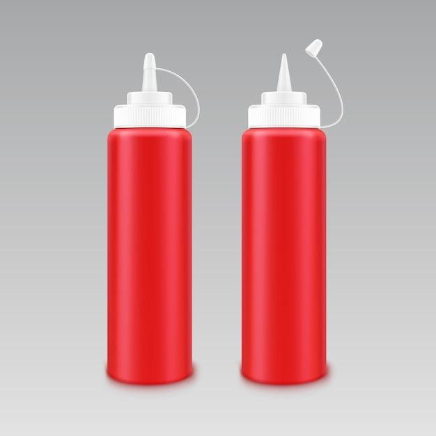 白のラベルなしのブランディングのための空白のプラスチック白赤いトマトケチャップボトルのベクトルを設定 Premiumベクター