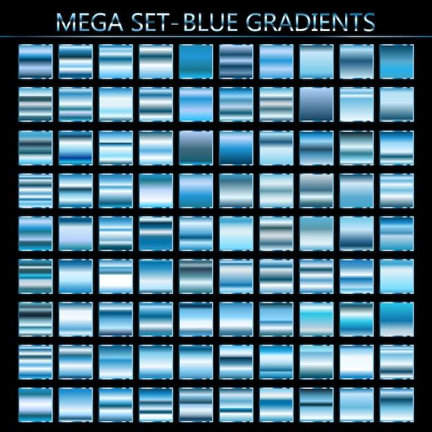 青のグラデーションのベクトルを設定します。青い背景のコレクション。 Premiumベクター