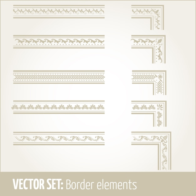 Vector set of border elements and page decoration elements. Border decoration elements patterns. Ethnic borders vector illustrations. Free Vector