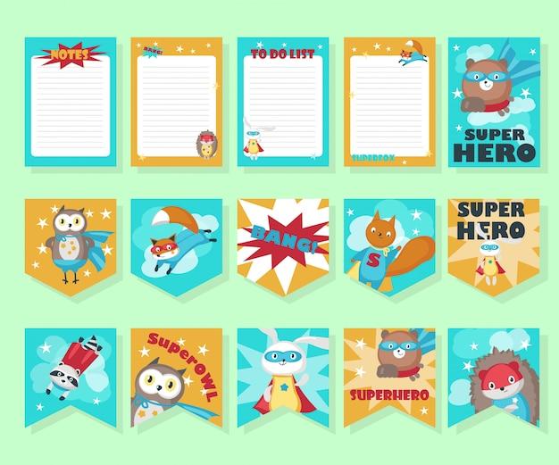 Векторный набор карточек с милыми животными супергероя Premium векторы