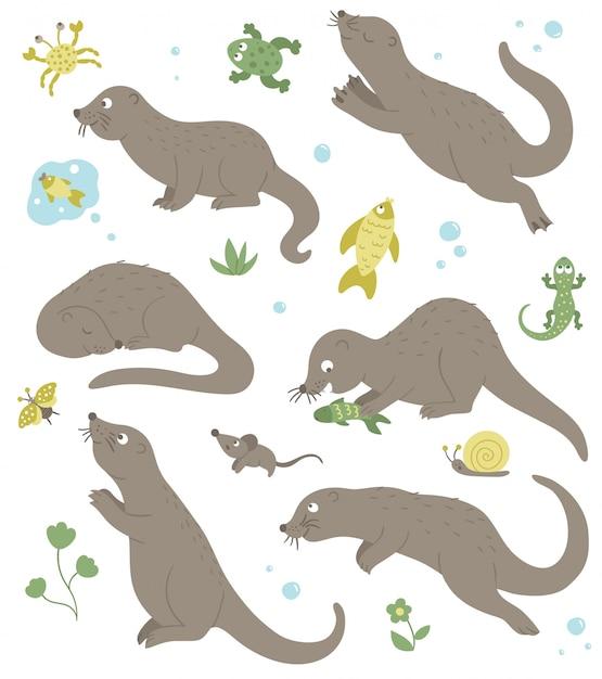 개구리, 게, 물고기, 도마뱀 클립 아트와 다른 포즈에 만화 스타일 플랫 재미 수달의 벡터 집합입니다. 숲 동물의 귀여운 그림입니다. 프리미엄 벡터