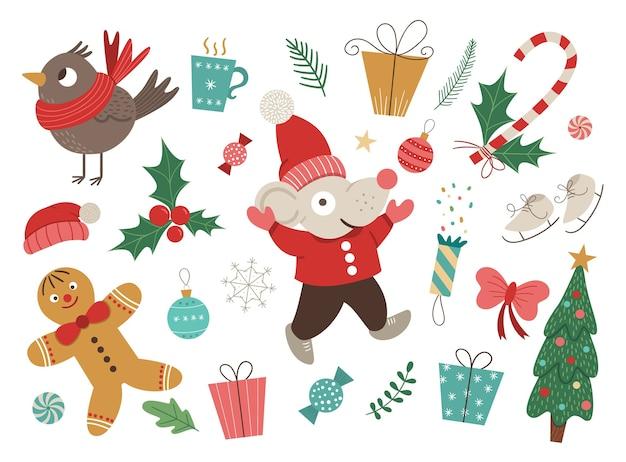 Векторный набор рождественских элементов с мышью в красной шляпе и куртке с поднятыми руками изолированы. рождественская плоская картина для украшения или новогоднего дизайна. Premium векторы