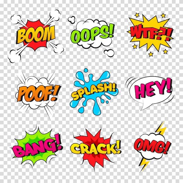 Векторный набор комических звуковых эффектов. мультипликационный речевой пузырь с фразой boom, splash, wtf, poof, bang, oops, crack, omg, hey. Premium векторы