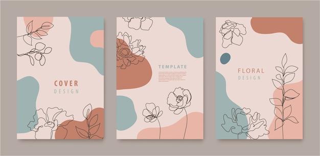 連続線の花、葉カバー、バナー、ポスター、カード、ソーシャルメディアストーリー、チラシデザインテンプレートのベクトルセット。波、パステルカラーのトレンディなデザイン Premiumベクター