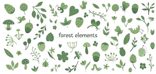 Векторный набор милых плоских лесных насекомых и растений. коллекция лесных элементов. Premium векторы