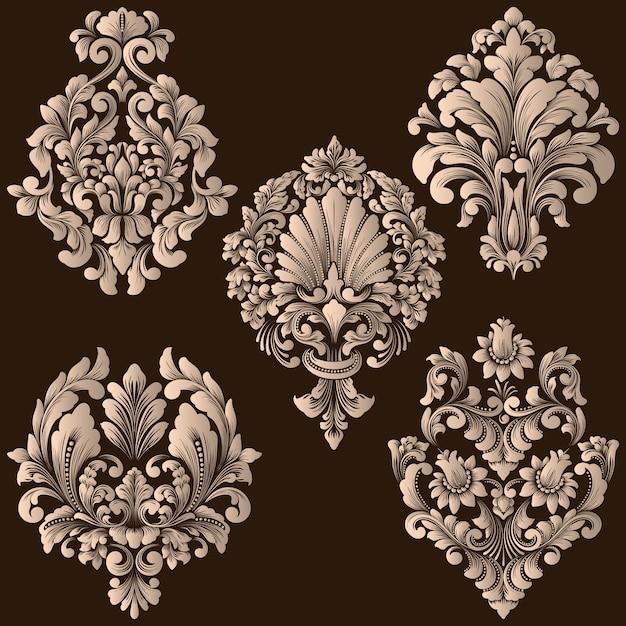 ダマスク織の装飾的な要素のベクトルを設定します。デザインのエレガントな花の抽象的な要素。招待状、カードなどに最適です。 無料ベクター