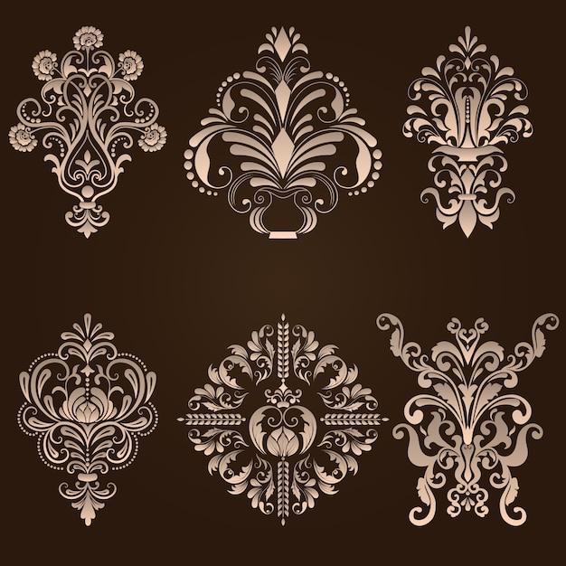 vector set of damask ornamental elements elegant floral abstract elements for design perfect for