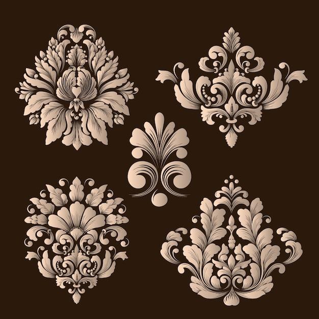 Векторный набор декоративных элементов из дамасской стали. Бесплатные векторы