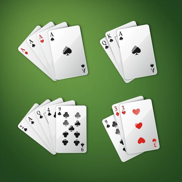 緑のポーカーテーブルで分離された4つのエース、ロイヤルストレートフラッシュなどの上面図を組み合わせたさまざまなトランプのベクトルセット 無料ベクター