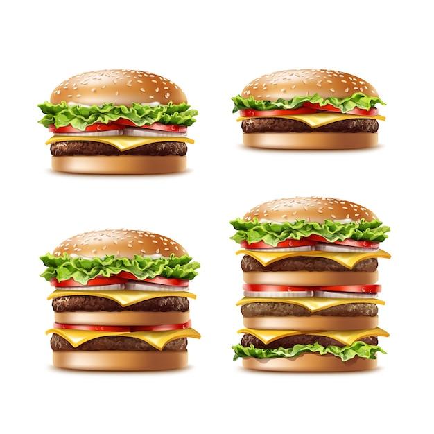 다른 현실적인 햄버거의 벡터 집합 양상추 토마토 양파 치즈 쇠고기와 소스와 클래식 버거 아메리칸 치즈 버거 흰색 배경에 고립 닫습니다. 패스트 푸드 무료 벡터