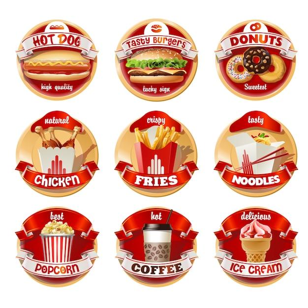 Векторный набор логотипов быстрого питания, наклейки Бесплатные векторы