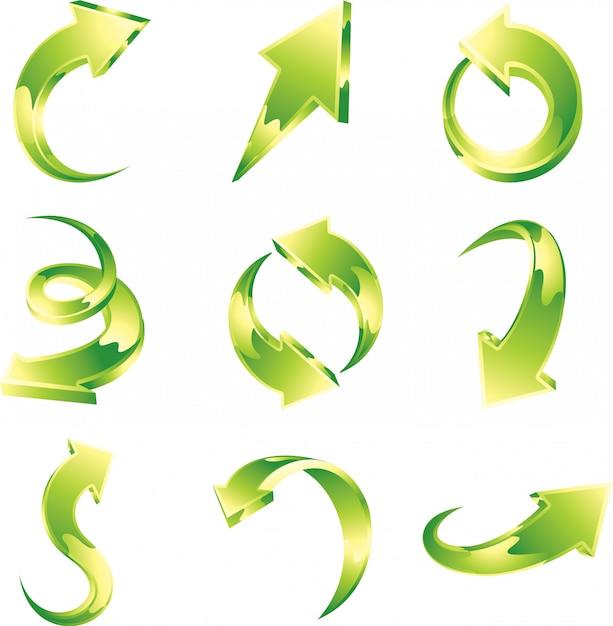 녹색 화살표의 벡터 세트 프리미엄 벡터