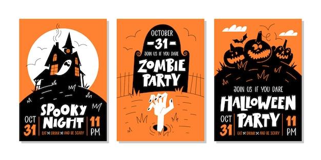 Векторный набор приглашений на вечеринку в честь хэллоуина или поздравительных открыток с рукописным текстом и традиционными символами. векторная иллюстрация Premium векторы