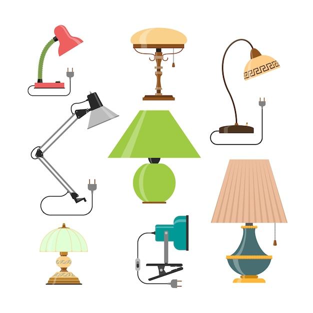 Векторный набор домашних ламп. домашний свет и настольные лампы. Premium векторы