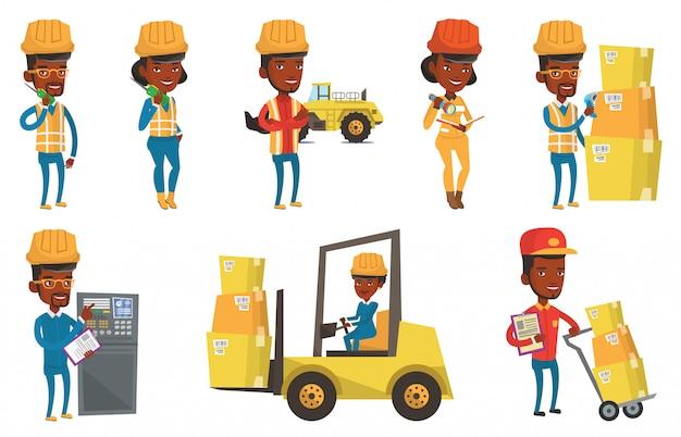 産業労働者のベクトルを設定します。 Premiumベクター