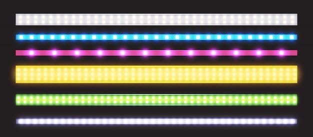 ネオングロー効果を持つledストリップのベクトルを設定 無料ベクター