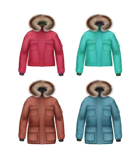 長いと短い茶色、ピンク、ターコイズ、青いスポーツ冬のコートのベクトルセット、白い背景で隔離の毛皮のフード正面 無料ベクター