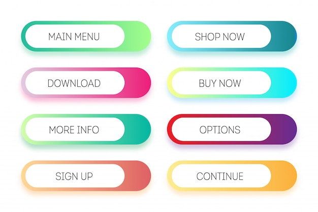 モダンなグラデーションアプリまたはゲームボタンのベクトルを設定します。ユーザーインターフェイスwebボタン、材料設計 Premiumベクター