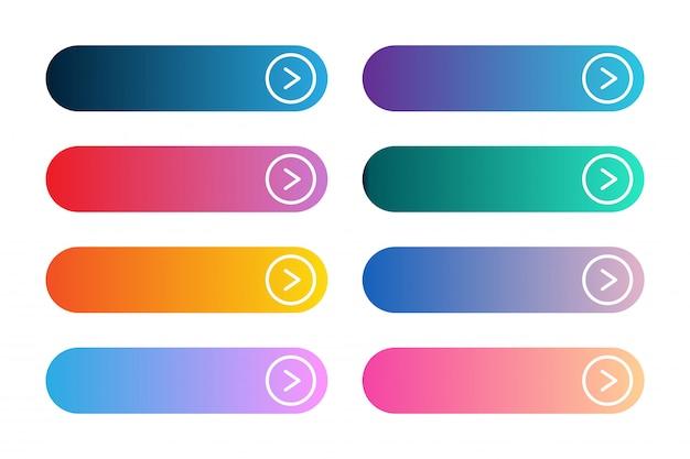 モダンなグラデーションアプリまたはゲームボタンのベクトルを設定します。矢印の付いたユーザーインターフェイスwebボタン。 Premiumベクター