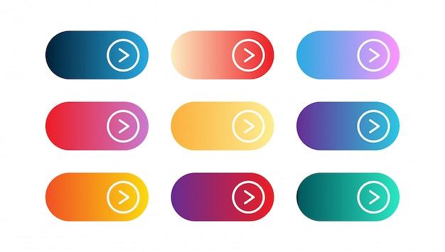 モダンなグラデーションアプリまたは小さなゲームボタンのベクトルを設定します。ユーザーインターフェイスwebボタン、マテリアルデザイン、今すぐアクションを呼び出す Premiumベクター