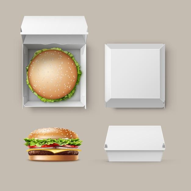 햄버거와 브랜딩에 대 한 현실적인 빈 빈 흰색 판지 패키지 상자 컨테이너의 벡터 집합 클래식 버거 아메리칸 치즈 버거 흰색 배경에 고립 된 상단 측면보기를 닫습니다. 패스트 푸드 무료 벡터